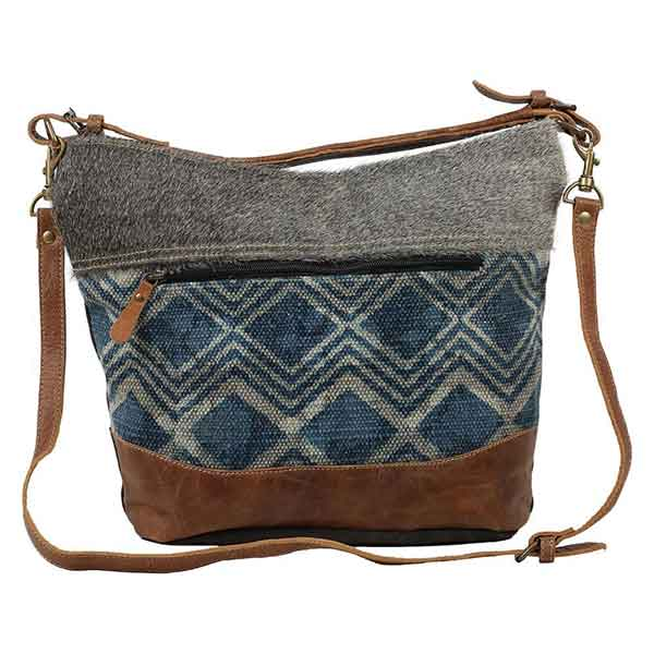 Mid Town Shoulder Bag with blue chevron pattern upcycled material from Myra Bag front