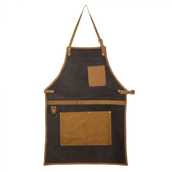 Myra Bag Kitchen Cape Apron light tan trim men's BBQ apron front view