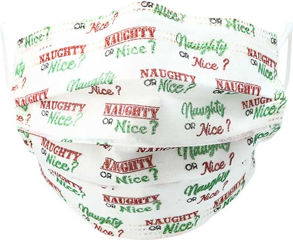 Naughty or Nice Adult Face Mask printed phrase disposable