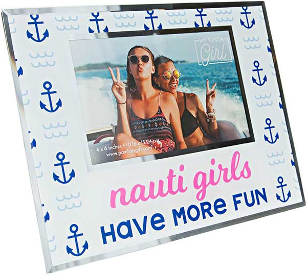 Nauti Girls photo frame made from glass and holds a 4x6 photo