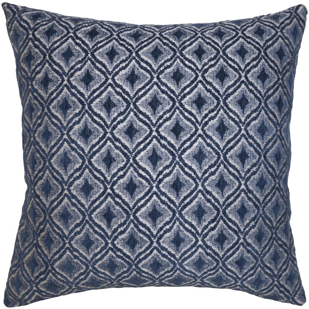 Navy Diamonds throw pillow has soft deep blue diamonds with a white background from Square Feathers