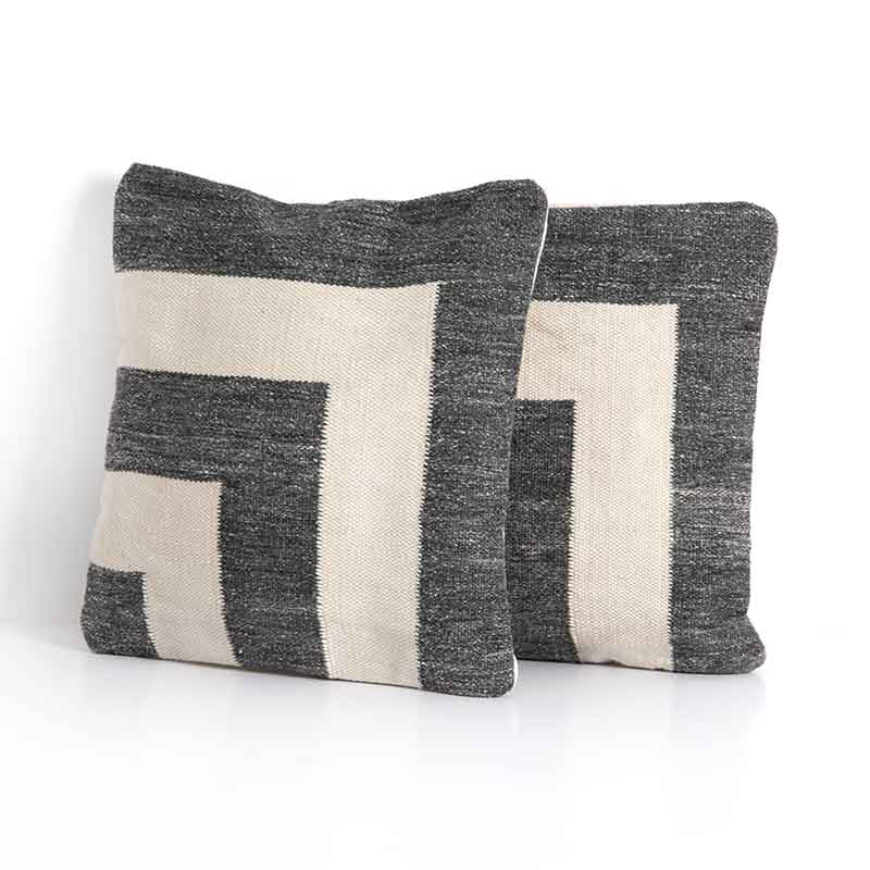 NIa outdoor pillow set of 2 in dark charcoal and cream from Four Hands