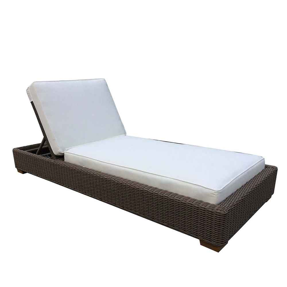 Nautilus outdoor chaise in kubu weave on aluminum frame from Padma's Plantation
