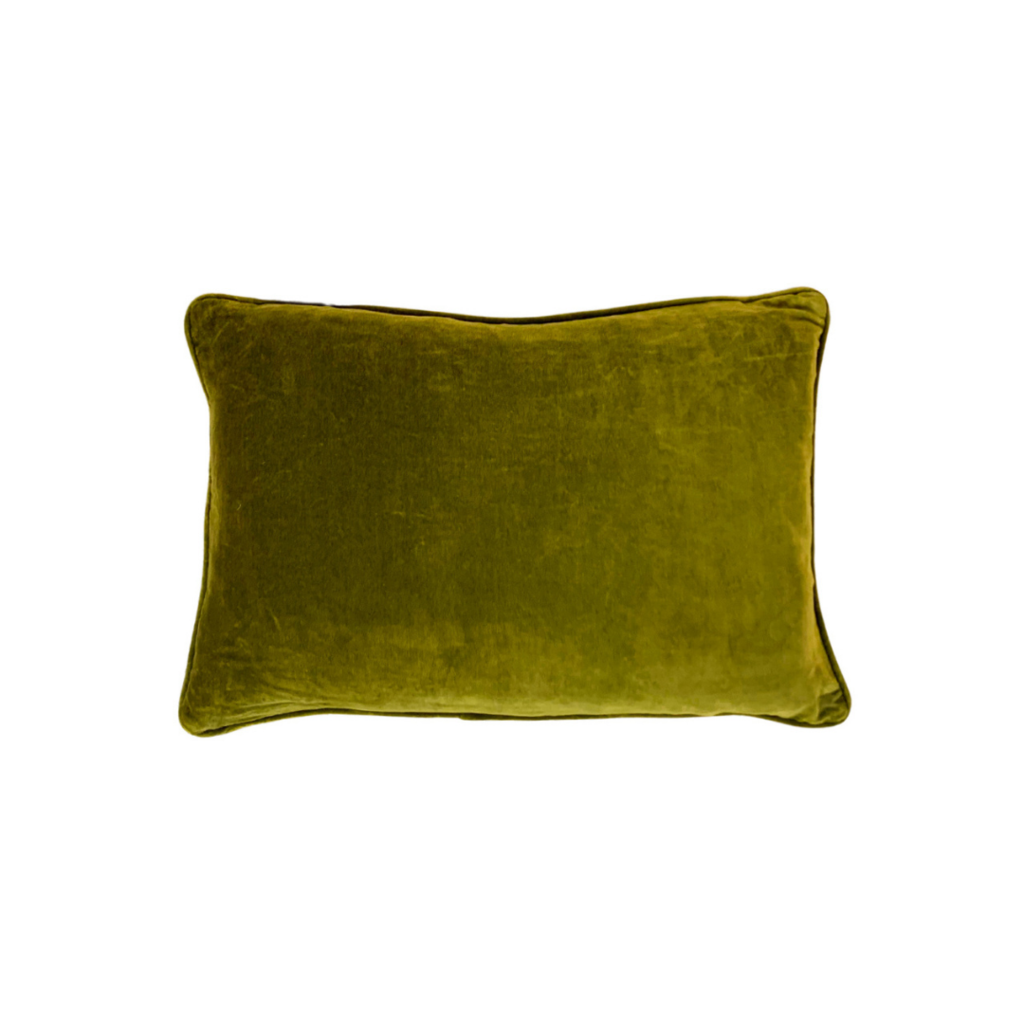 Olve Green Velvet Pillow from Laura Park Designs, lumbar