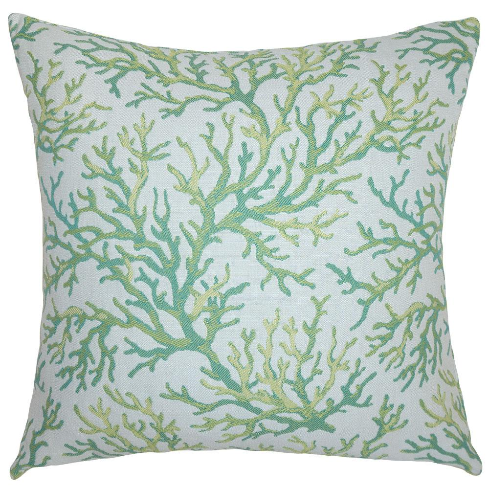 Coral Lime outdoor pillow from Square Feathers in 5 sizes