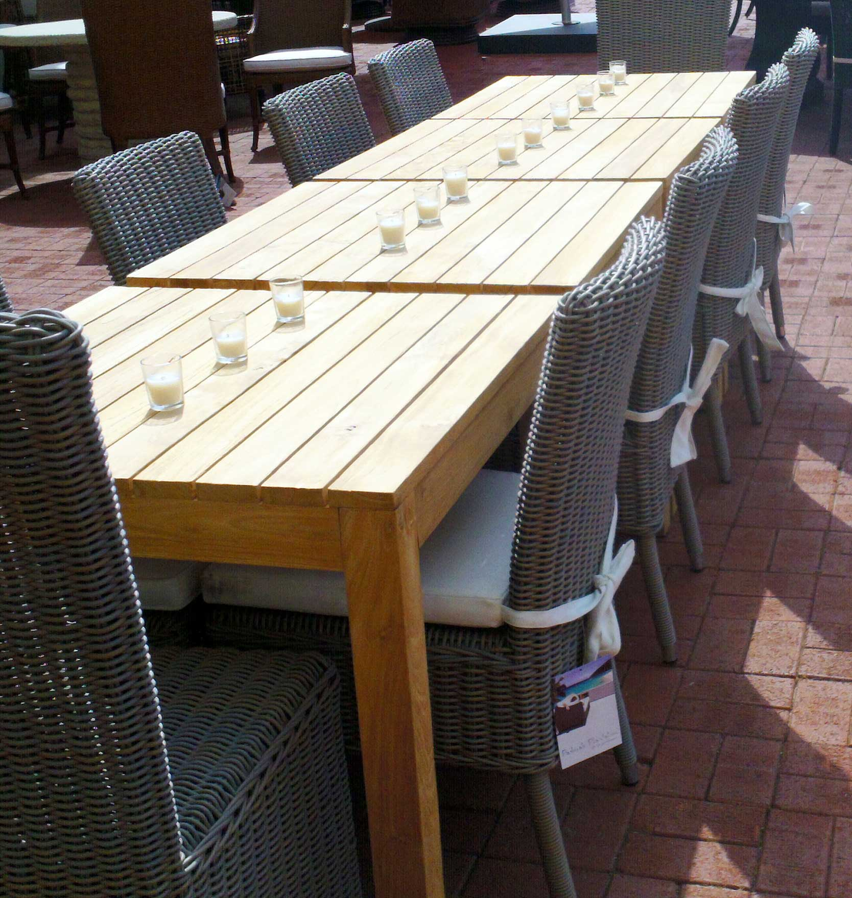 Rustic Teak Outdoor Dining Table Padma's Plantation Lifestyle Image