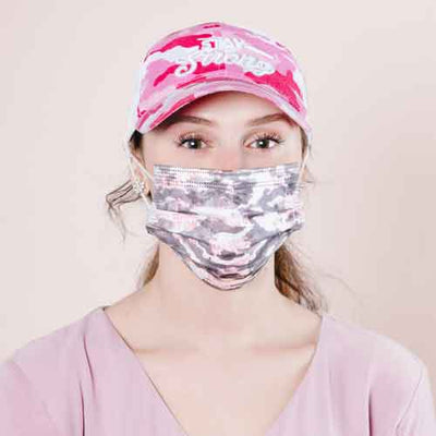 Pink camo adult disposable face mask lifestyle image 2