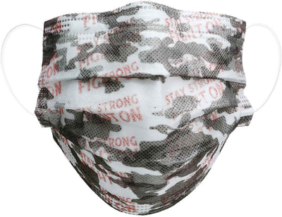 Pink camo adult disposable face mask product image