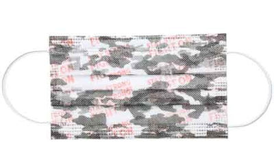 Pink camo adult disposable face mask flat product image