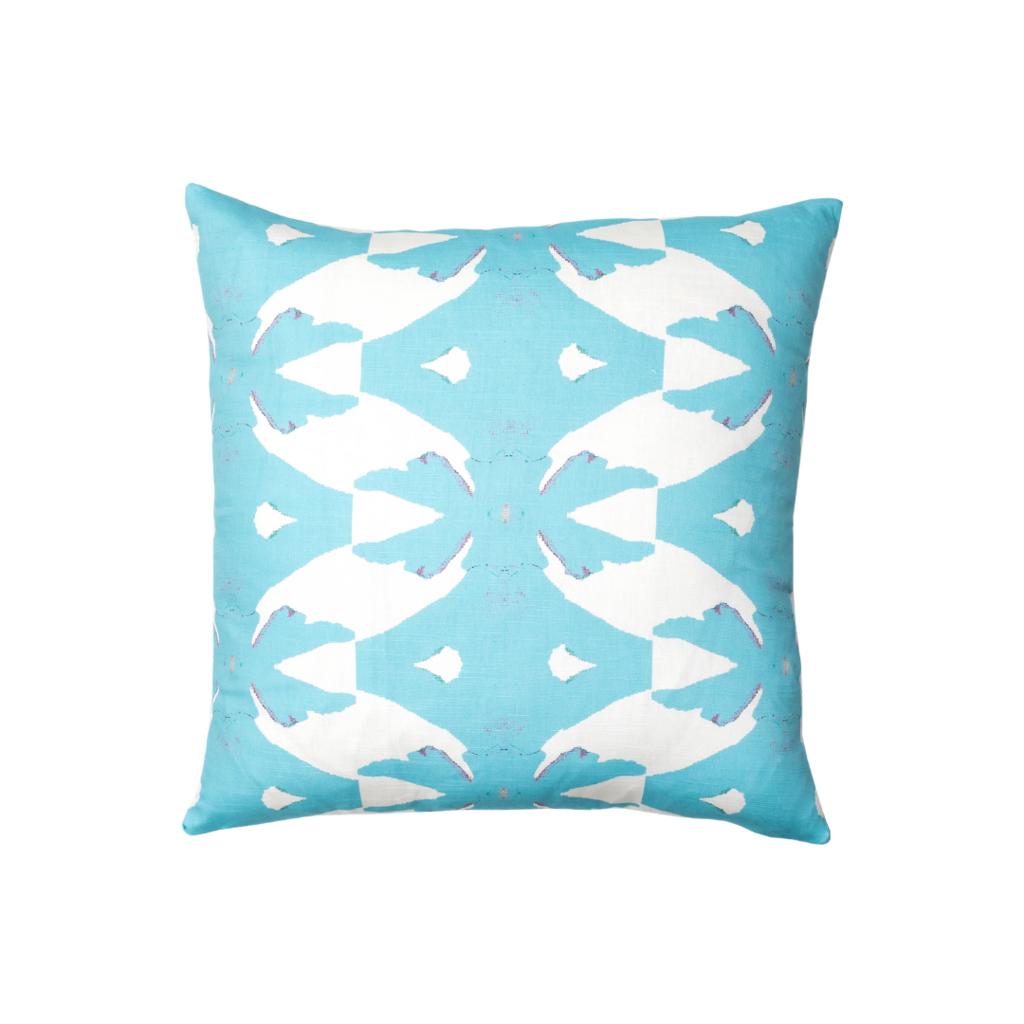Palm Blue linen pillow in vivid blue from Laura Park Designs. Square sofa pillow
