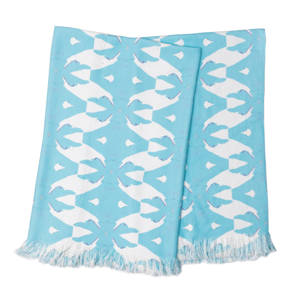 Palm Blue throw blanket in vivid light blue from Laura Park Designs