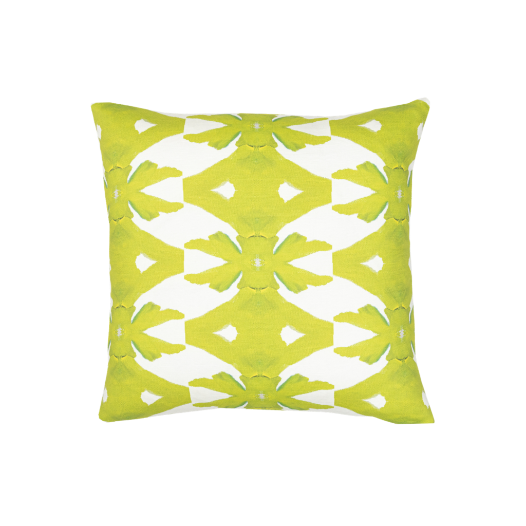 Palm Green outdoor pillow in vivid green on white background from Laura Park Designs