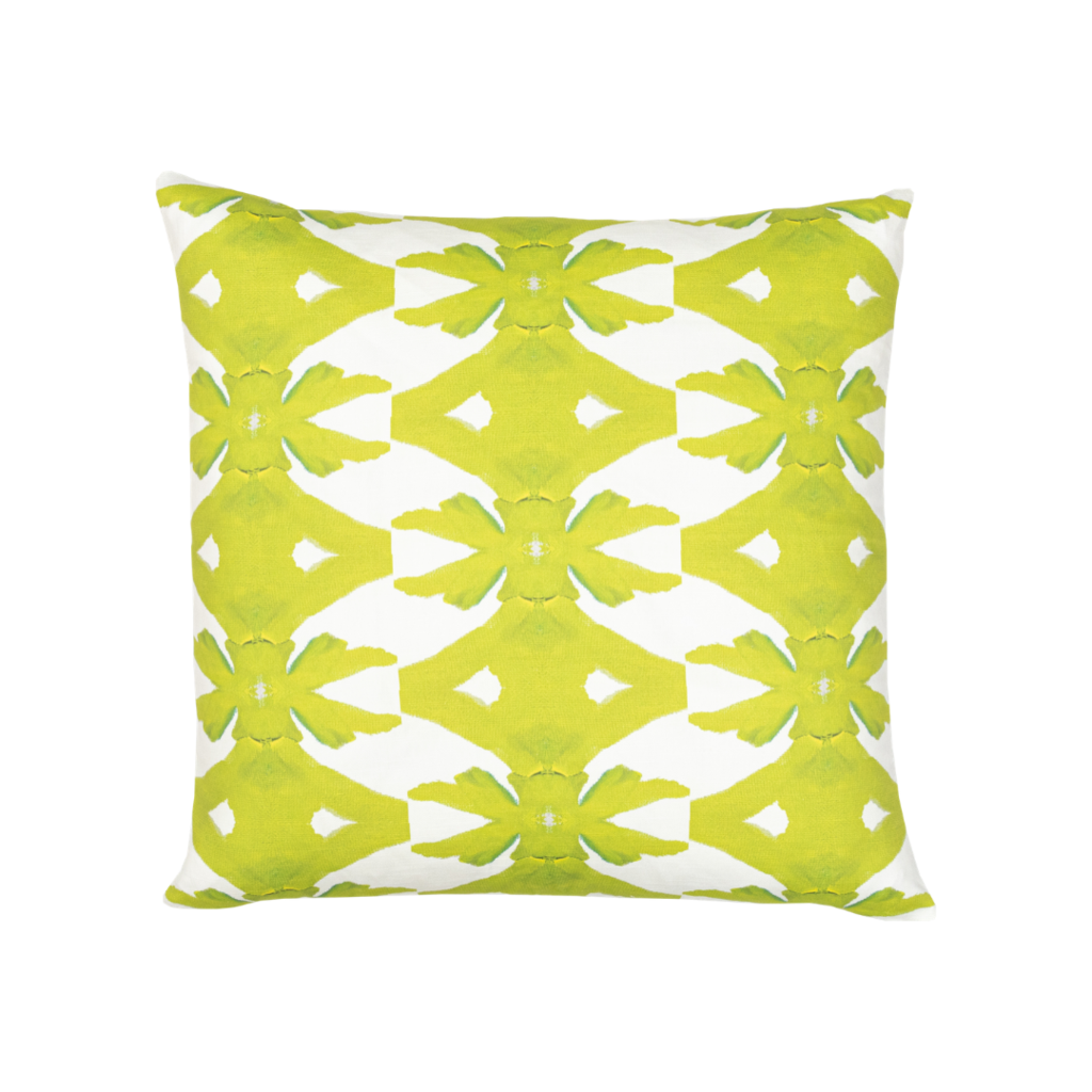 Palm Green linen pillow in vivid green from Laura Park Designs. Square throw pillow
