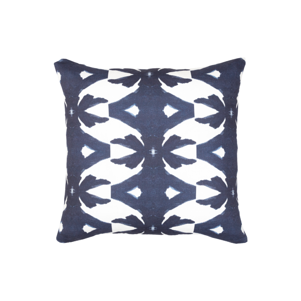 Palm navy linen pillow with deep navy blue from Laura Park Designs. Square throw pillow