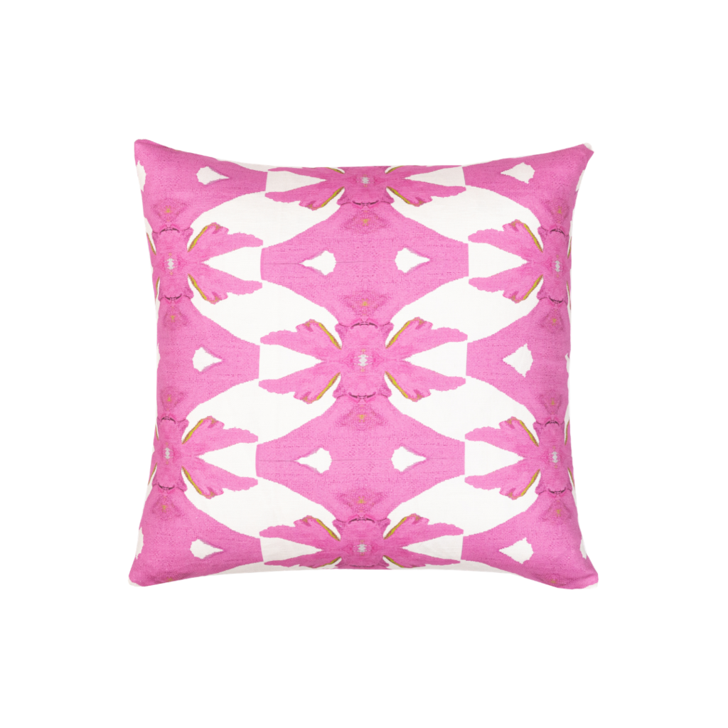 Palm pink linen pillow with bold pink on white background from Laura Park Designs. Square pillow