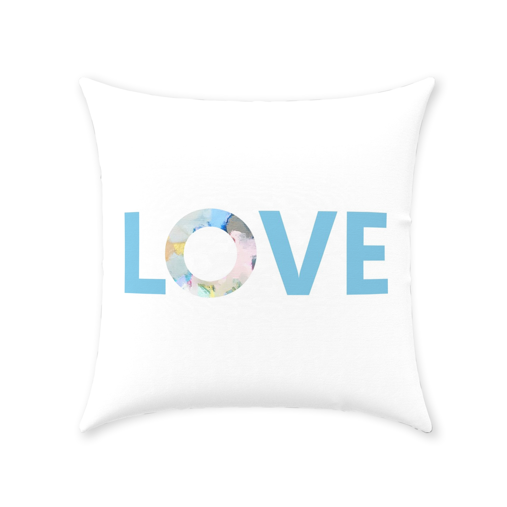Park Avenue Love Pillow with Love on white and pattern reverse from Laura Park Designs