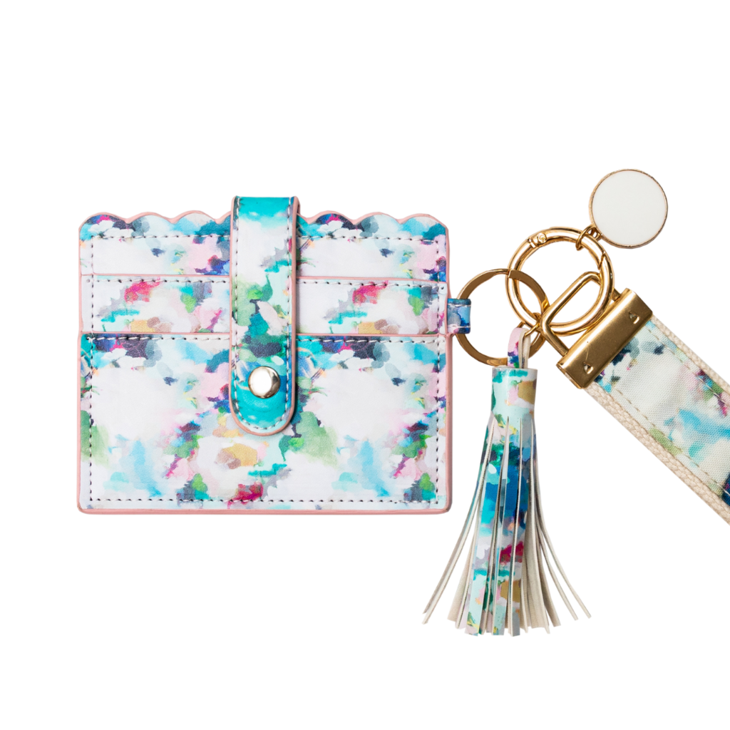 Park Avenue Wristlet Wallet in blues and pink from Laura Park Designs