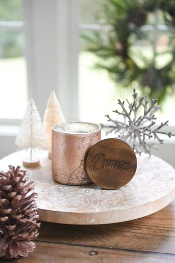 Copper mercury glass candle with wooden lid from Crave Candles Company
