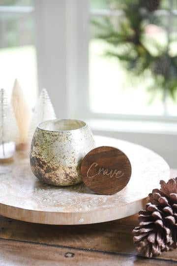 Stemless Silver Mercury Glass Candle with lid from Crave Candles Company