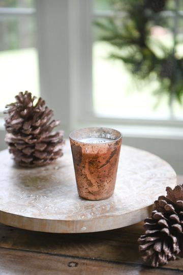 Copper Mercury Glass candle filled with soy-wax blend from Crave Candles Company