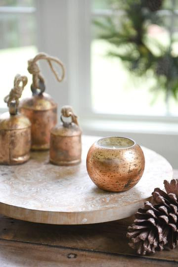 Copper Mercury Glass Globe soy wax candle from Crave Candles Company