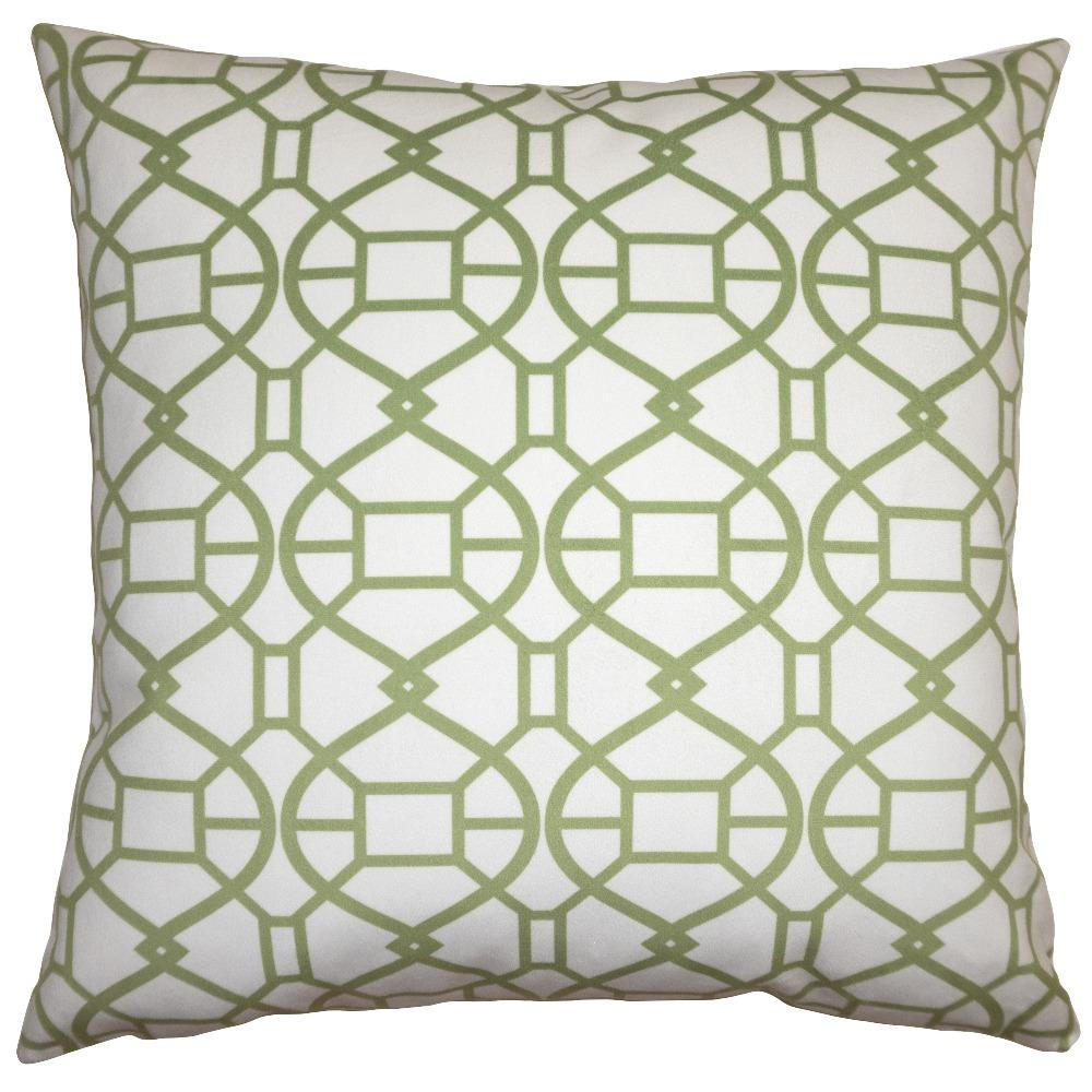Picnic Green Spiral throw pillow will brighten your room with a green spiral pattern on white field