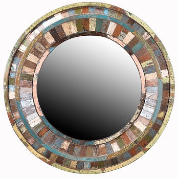 Nantucket Wood Round Mirror