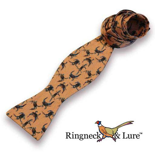 Crabs bow tie on salmon colored field from Ringneck & Lure