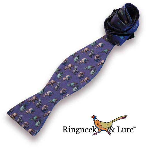 ELephants navy blue self tie bow tie from Ringneck & Lure