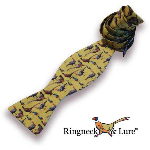 Gamebirds olive-colored self tie bow tie from Ringneck & Lure