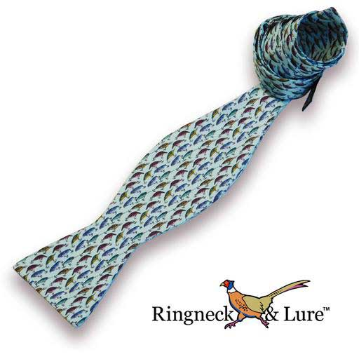 Lake Lures teal colored self tie bow tie from Ringneck & Lure