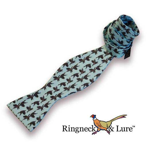 Mallard's aqua blue self tie bow tie from Ringneck & Lure