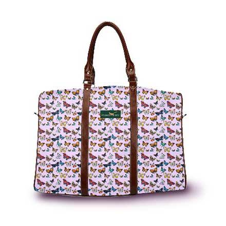 Butterfly pattern DayTripper in light violet from Ringneck & Lure weekender bag