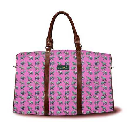 Elephants on parade DayTripper in raspberry from Ringneck & Lure weekender bag