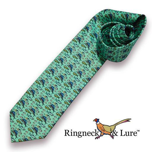 Atlantic Ocean fish on green necktie Ringneck & Lure