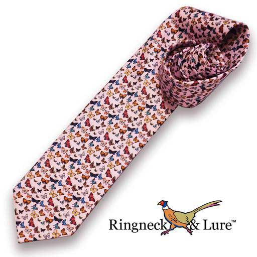 Butterfies necktie on light violet field from Ringneck & Lure