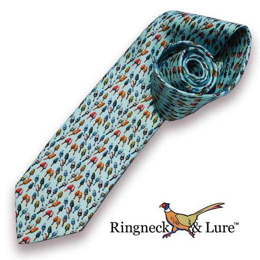 Lobster Buoys necktie on sky blue field from Ringneck & Lure