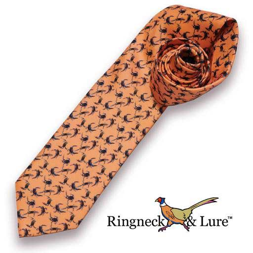 Crabs necktie on salmon colored field from Ringneck & Lure