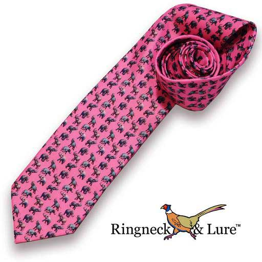 Elephant's raspberry colored necktie from Ringneck & Lure