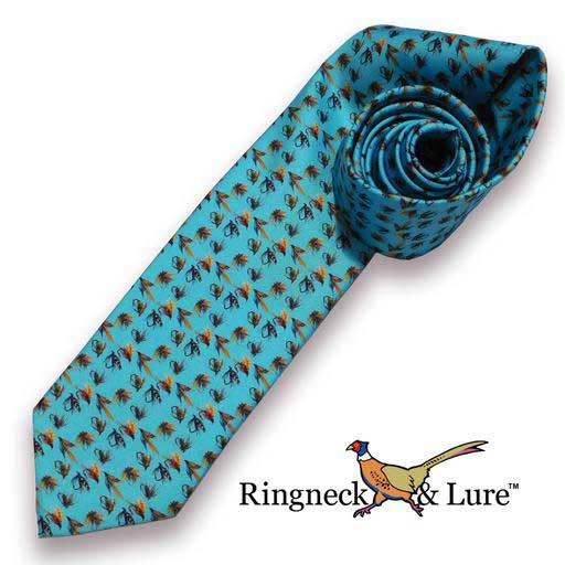 Fly Lures cerulean blue necktie from Ringneck & Lure