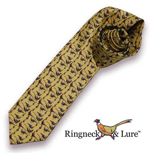 Gamebirds olive-colored necktie from Ringneck & Lure