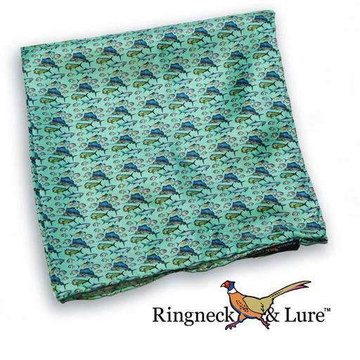 Atlantic gamefish on ocean green field pocket square from Ringneck & Lure