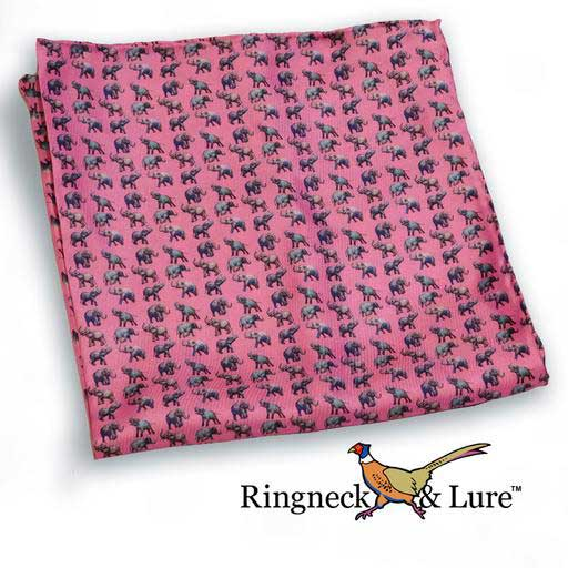 Elephant's raspberry colored pocket square from Ringneck & Lure