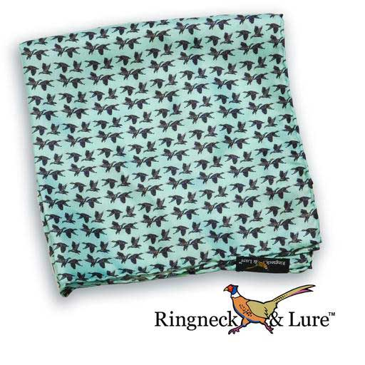 Mallard's aqua blue pocket square from Ringneck & Lure
