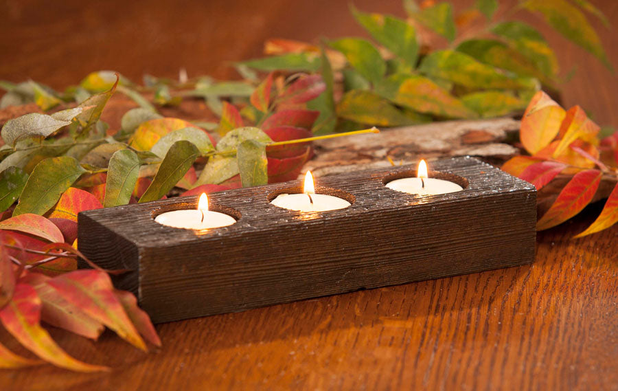 Reclaimed Cedar 3-Light Tealight Candle Holder Blue Valley Woodworks