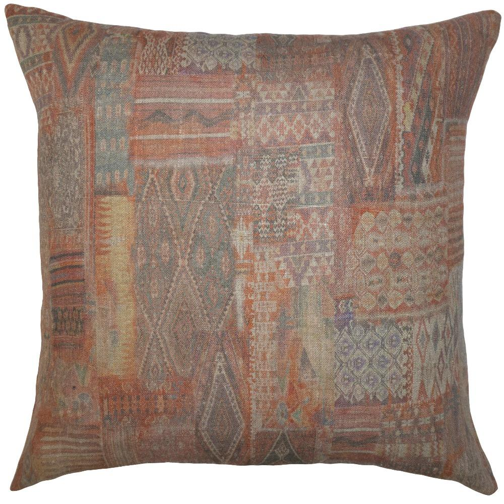 Red Patchwork throw pillow adds a variety of muted colors with subtle patterns by Square Feathers