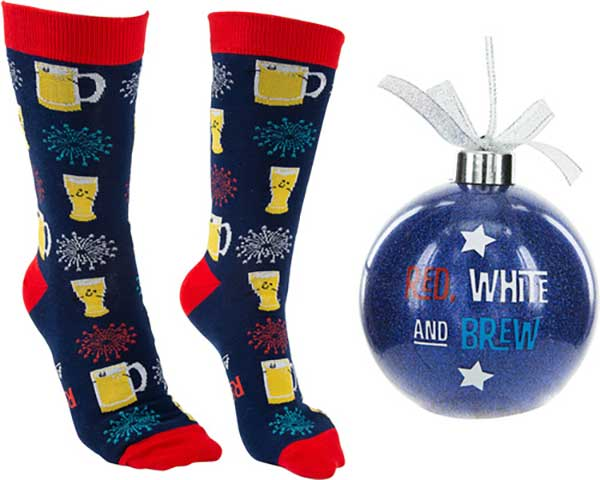Red, White and Brew Christmas socks and ornament product image