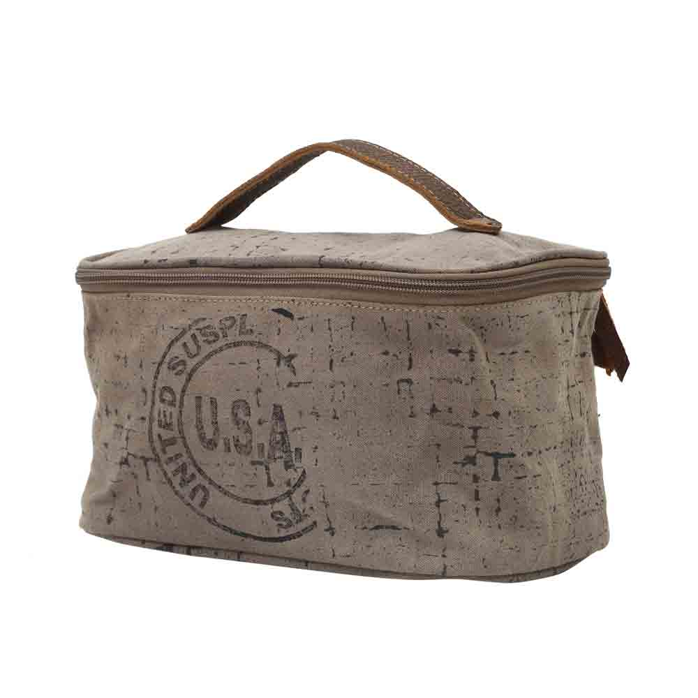 USA Stamped Shaving Kit Bag Front View Myra Bag Harley Butler Trading Company