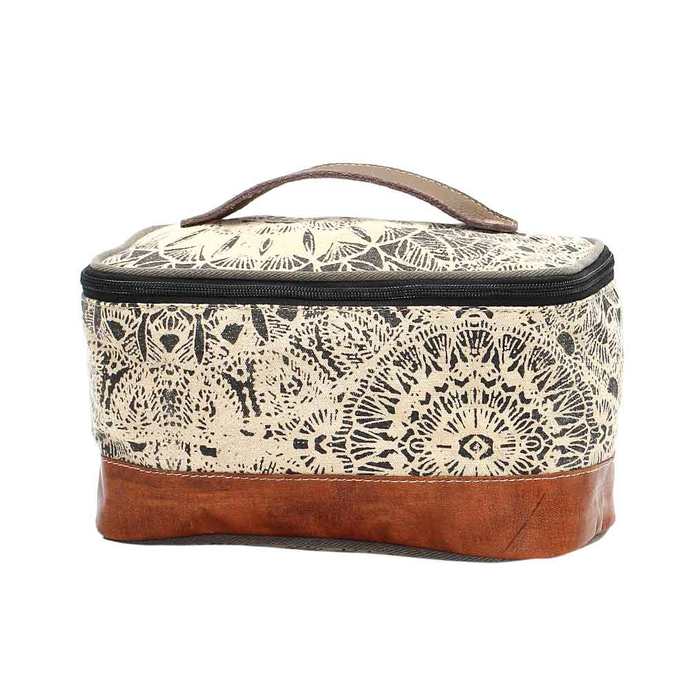 Flower Design Shaving Kit Bag Front View Myra Bag Harley Butler Trading Company