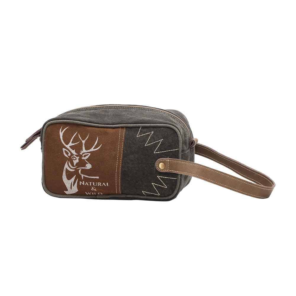 WILD Reindeer Shaving Kit Bag Canvas & Leather Myra Bag Harley Butler Trading Company Front View